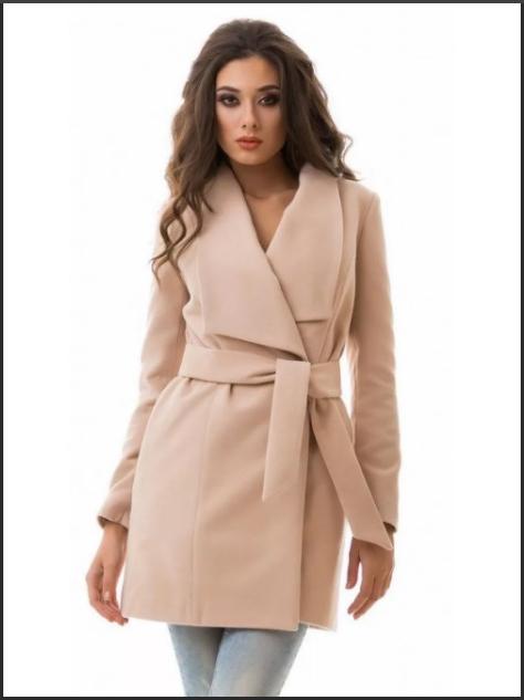 короткое пальто с поясом классика