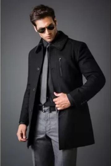 черное мужское пальто деловой образ