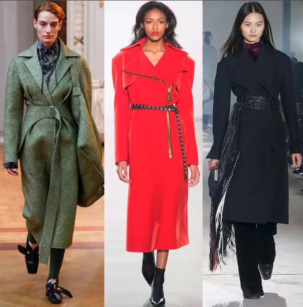 пальто с разными поясами