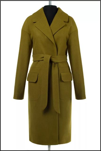женское пальто из сукна оливковое