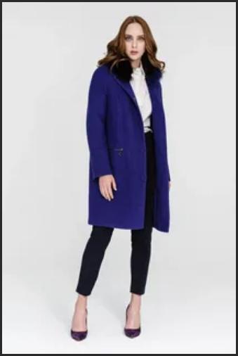 женское пальто из полиэстера синее