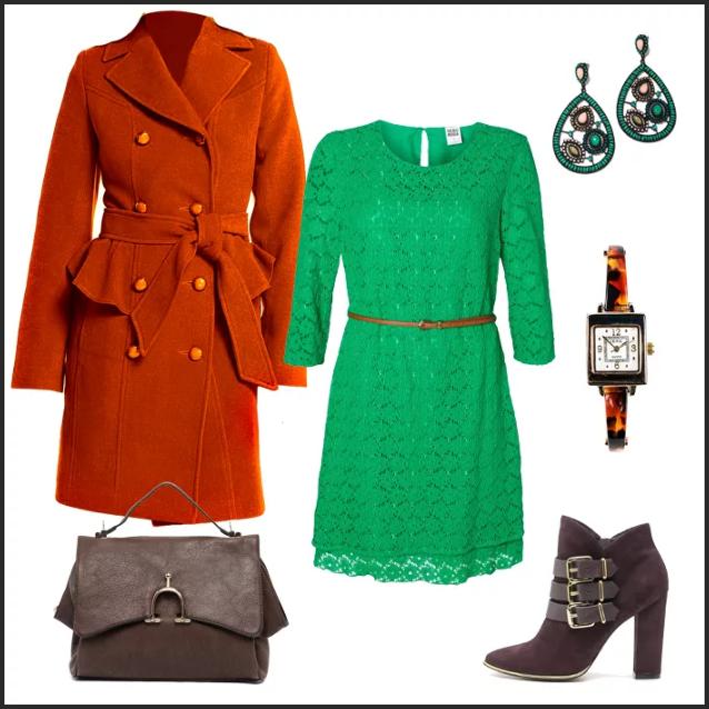 терракотовое пальто и зеленое платье