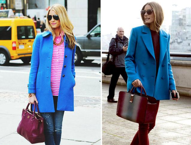С чем носить женское пальто светло-синего цвета