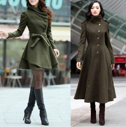С чем носить пальто болотного цвета? 1