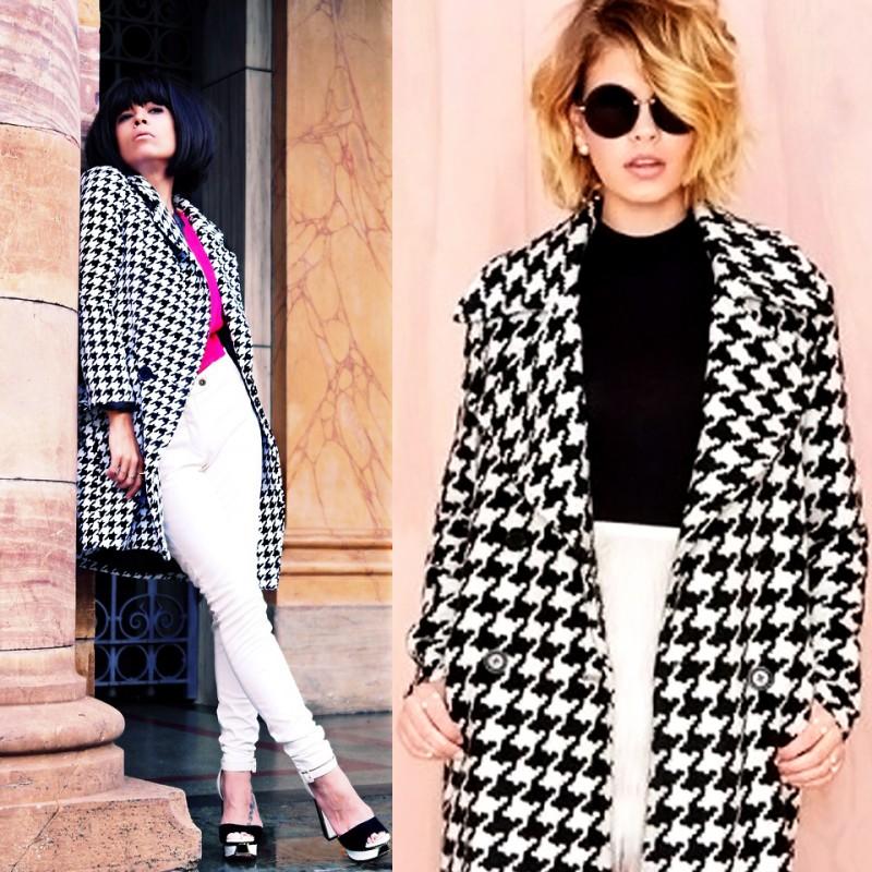 С чем носить женское пальто с узором «гусиная лапка»? 4