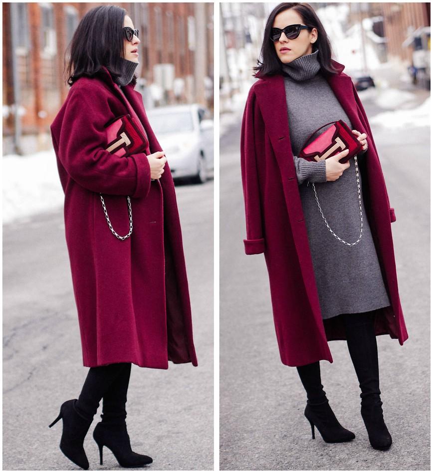 С чем носить пальто бордового цвета? выбор обуви