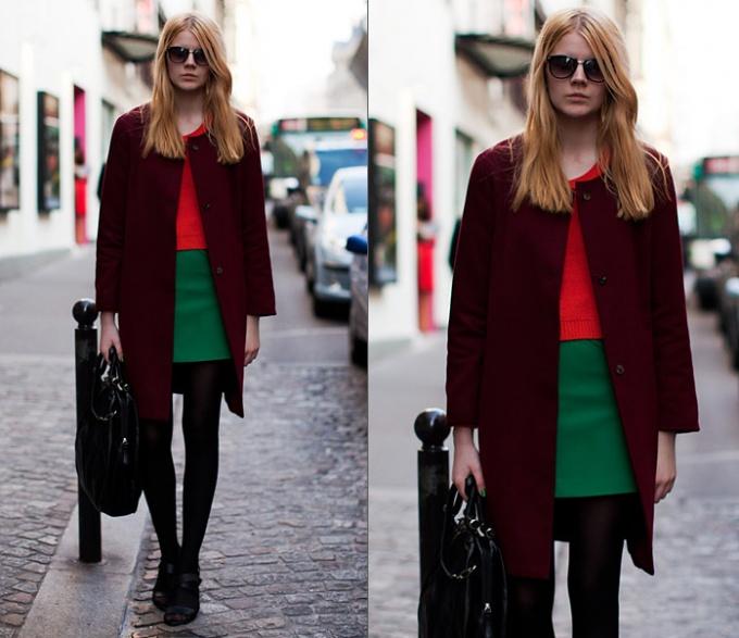 С чем носить пальто бордового цвета? 1