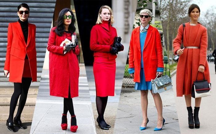 что надеть с красным пальто