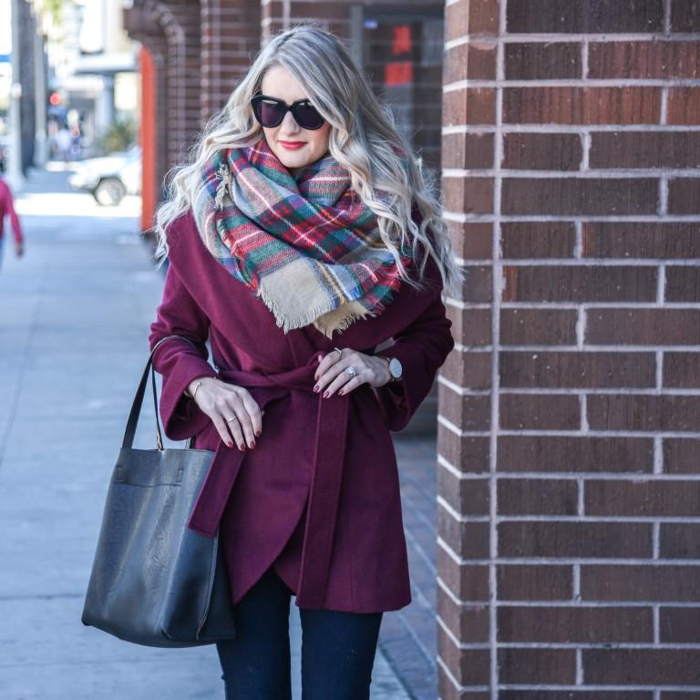 Какой палантин и платок можно выбрать к пальто бордового цвета? 3