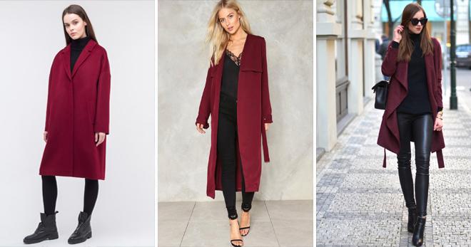 С чем носить пальто бордового цвета?