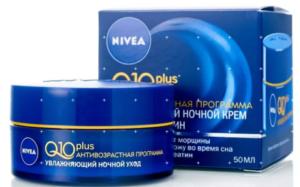 Nivea увлажняющий ночной крем против морщин Q10 plus