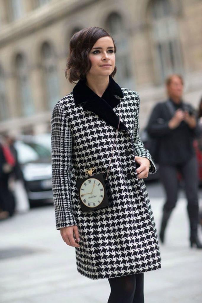 С чем носить женское пальто с узором «гусиная лапка»? 3