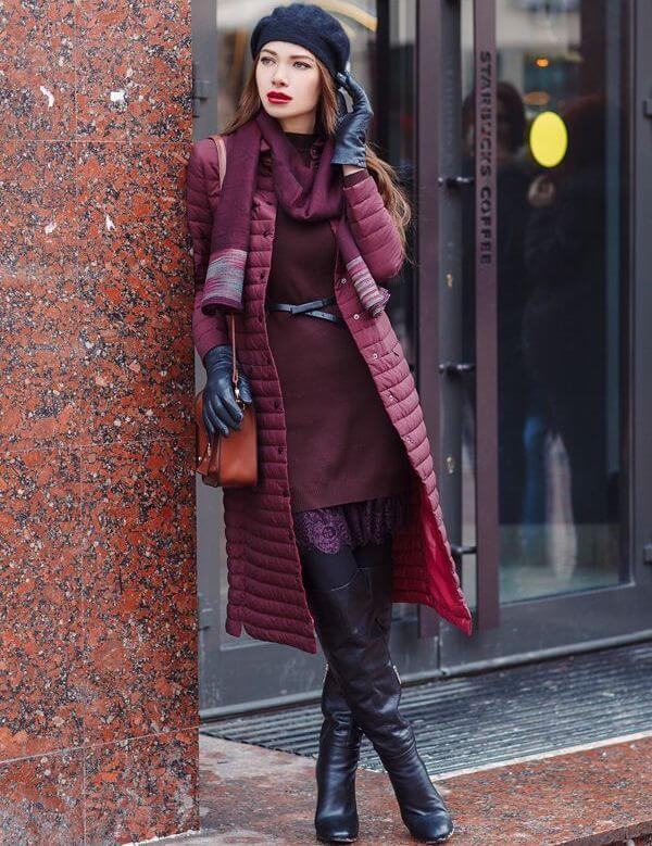 Какой палантин и платок можно выбрать к пальто бордового цвета?