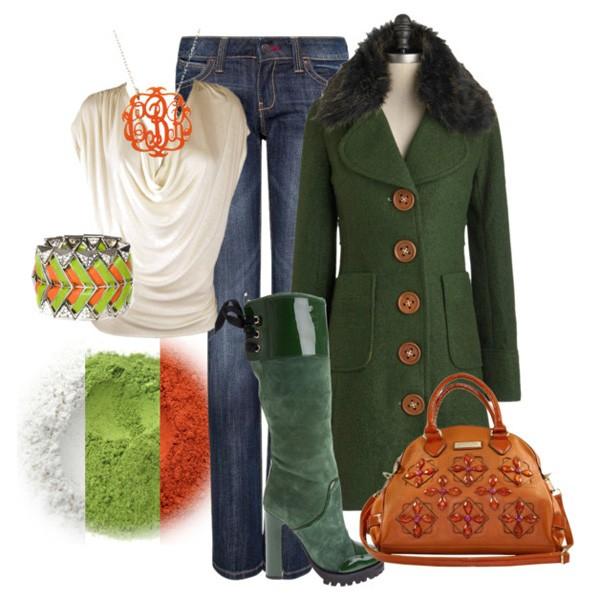 С чем носить пальто болотного цвета? 3