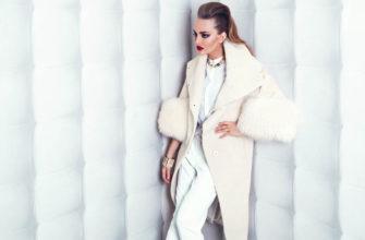 пальто из альпаки с меховыми рукавами