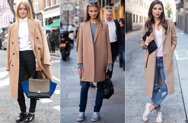 С чем носить женское пальто бежевого цвета? оверсайз