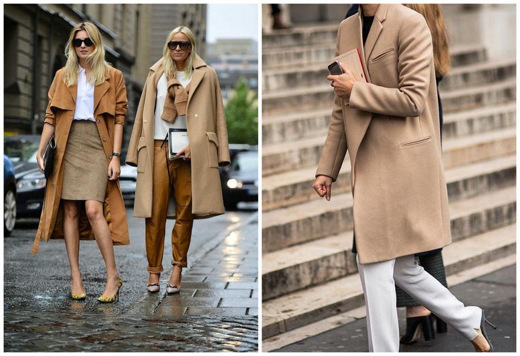 С чем носить женское пальто бежевого цвета?
