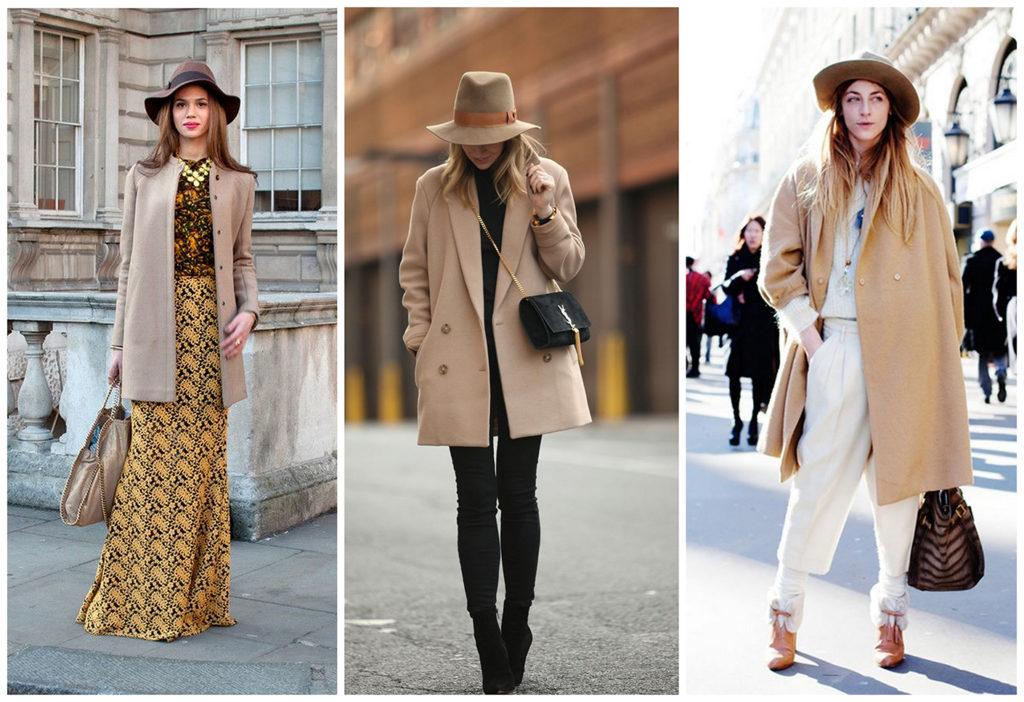 С чем носить женское пальто бежевого цвета? демисезонное