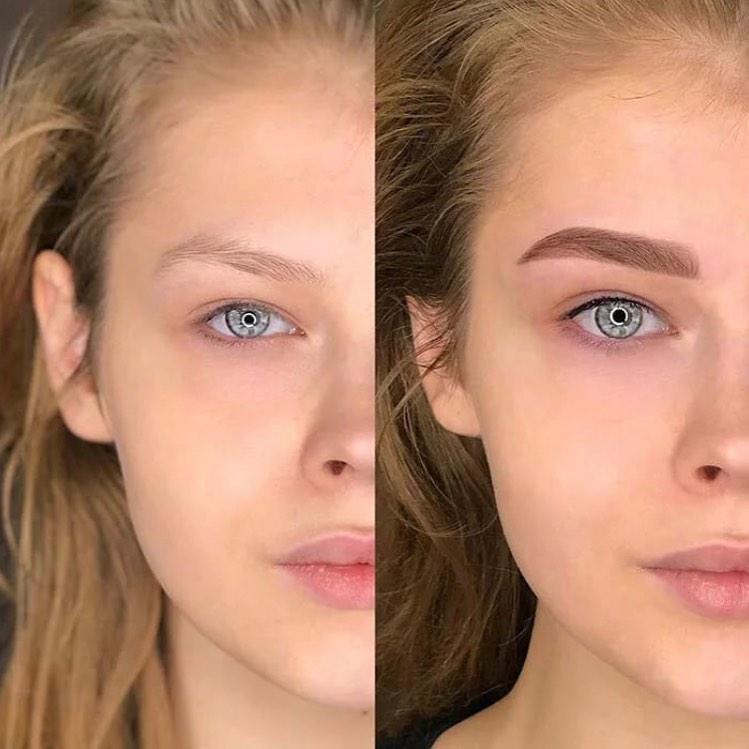 тени до и после пудры