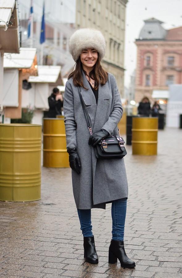 пальто с шапкой папахой
