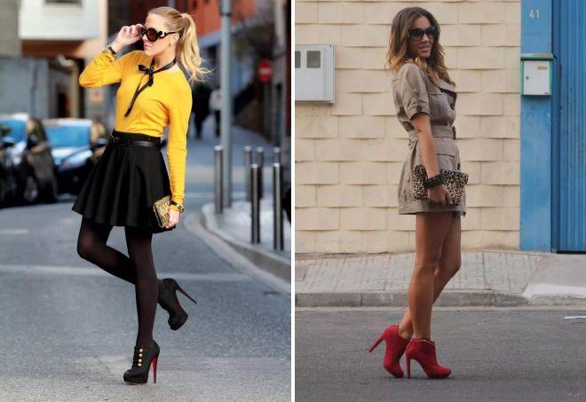 С чем носить ботильоны на высокой «шпильке»? юбки, платья