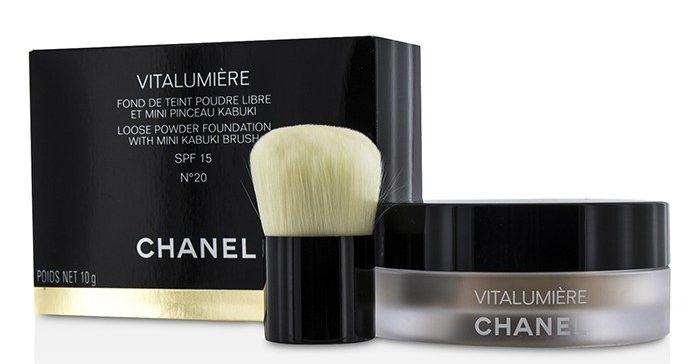 Chanel Vitalumiere Loose Powder Foundation With Mini Kabuki Brush SPF 15