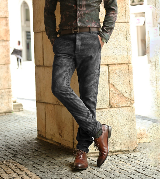 мужские вельветовые брюки с классическими туфлями