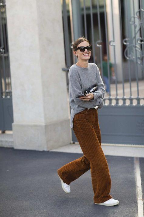 вельветовые брюки сочетание со свитером