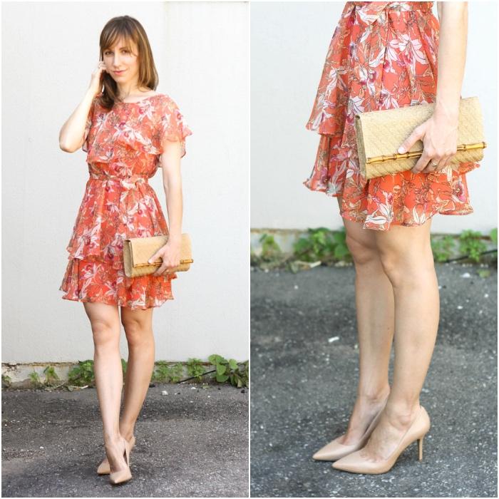 платье и бежевые туфли