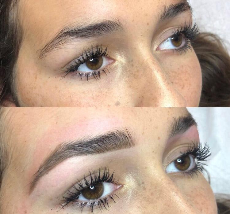 Ламинорование бровей до и после