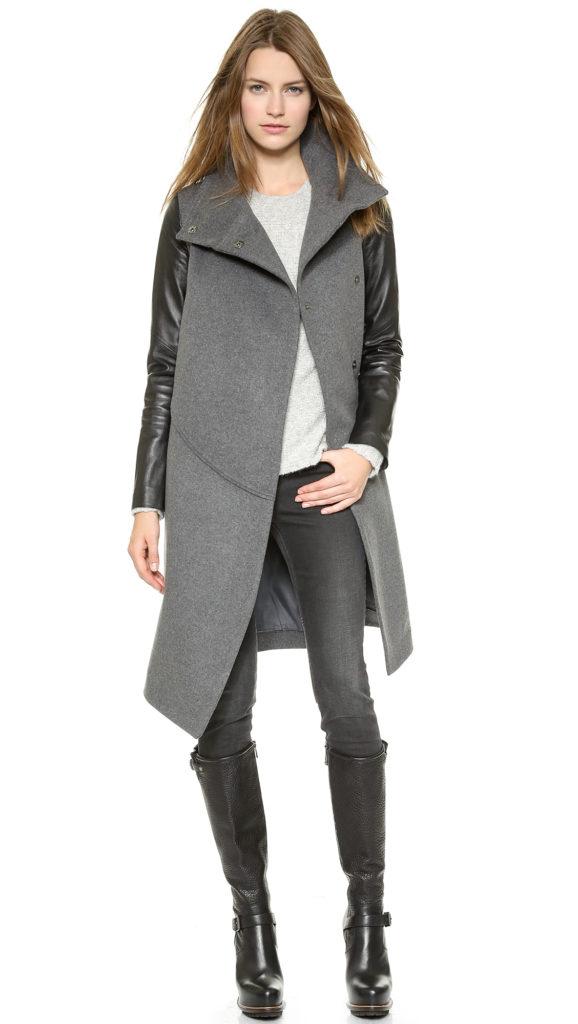 Пальто с кожаными рукавами.