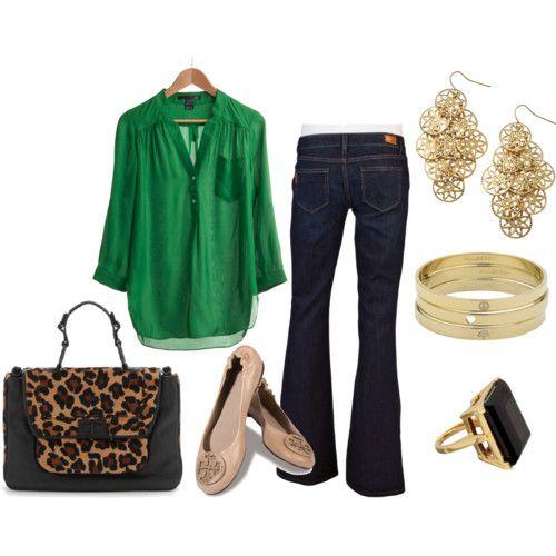 Коричневые туфли и зелёная блузка