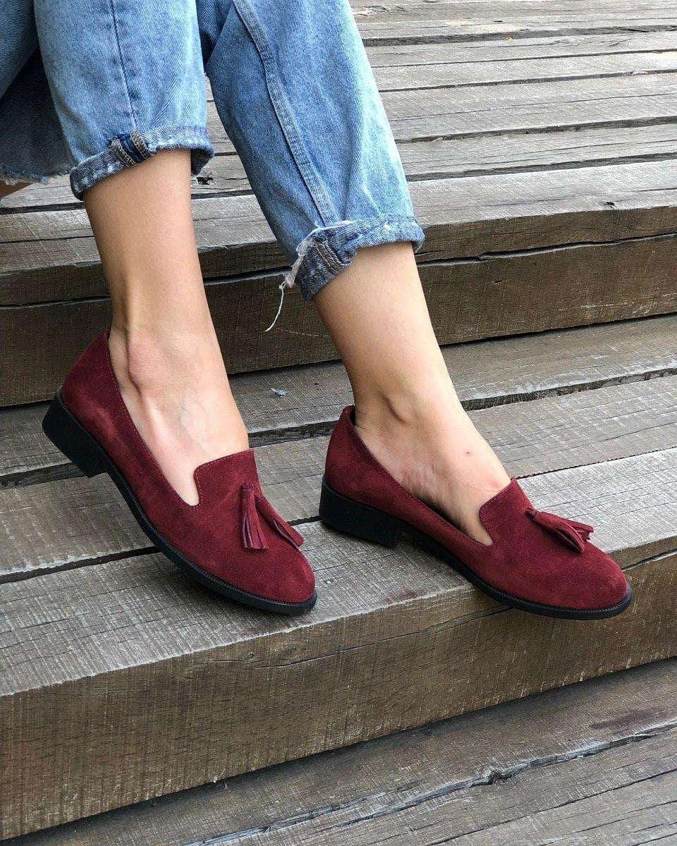 бордовые туфли на плоском ходу