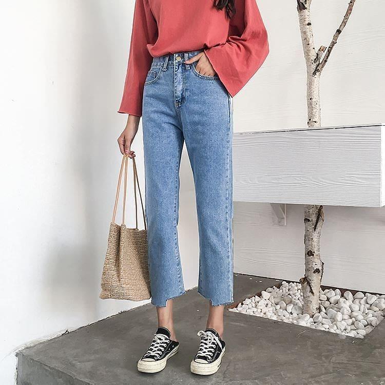 укорочённые джинсы