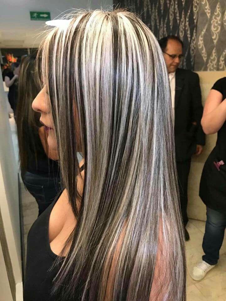 мелирование белым цветом на волосы черные