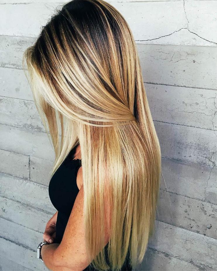 балаяж на волосы большой длины